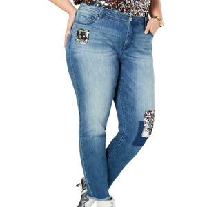 INC Sequined Mid-Rise Frayed Hem Skinny Jeans 20W
